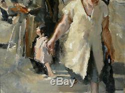 Beau Tableau Scène De Rue Huile Sur Toile 1940. Peinture ancienne