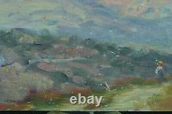 Beau Tableau ancien Paysage Impressionniste animée Italie Ciel Peinture 19 ème
