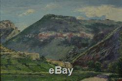 Bel Et Ancien Tableau De Montagne 1926 Signé Vue De Village Pyrénées