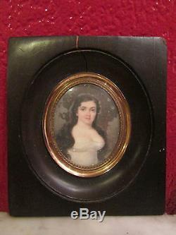 Belle ancienne miniature fin 19 eme peinture sur carton portrait femme tableau