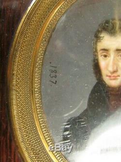 Belle grand ancienne miniature 19e peinture portrait homme tableau horville 1837