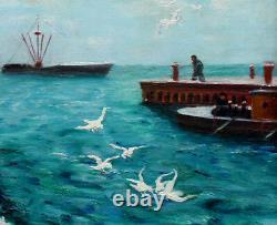 Bert HILDEBRANDT (1906-1974) ANCIEN TABLEAU PEINTURE MARINE CADRE SCULPTE DORE