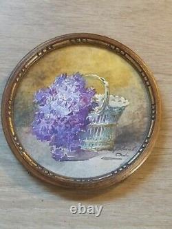 Blanche Odin aquarelle Ancienne 19eme tableau peinture miniature