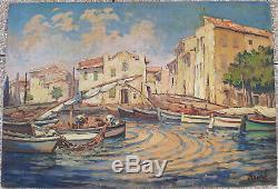 Bréval tableau ancien peinture marine huile sur panneau signée