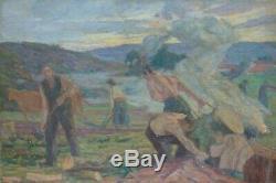 C J AGARD Tableau ancien Postimpressionniste HST travaux des champs Art Déco