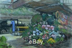 Charmant tableau ancien Quai Parisien animé Kiosque Fleuriste Traction signé