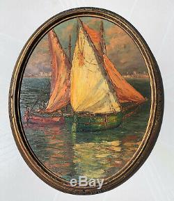 Clement Boyer Ancien Tableau Peinture Marine Nice Provence Cadre