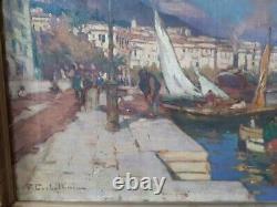 Collection Corse Ancien Tableau Peinture Huile Toile Ajaccio Signe Corbellini