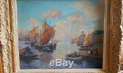 Concarneau peinture ancienne signee huile ville close tableau bretagne mer peche