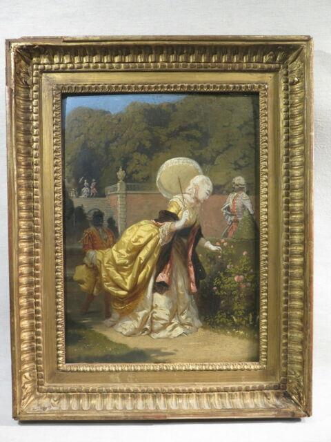 E. Guerard Ancien Tableau Peinture Elegante Xviii ème Dans Un Parc Serviteur