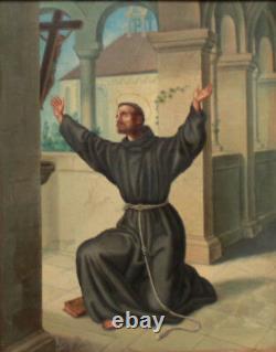 ECOLE ESPAGNOLE 19eme SAINT FRANCOIS ANCIEN TABLEAU PEINTURE RELIGIEUSE CUIVRE