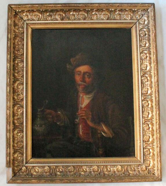Ecole Flamande 19eme Homme A La Pipe Ancien Tableau Peinture
