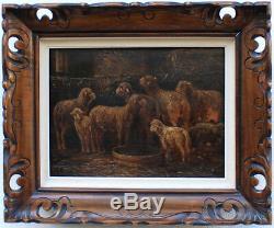 Ecole Charles Emile Jacque Barbizon Moutons Ancien Tableau Peinture Cadre