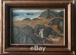 Ensemble de 4 Tableaux anciens art naïf peinture naïve signature à déchiffrer