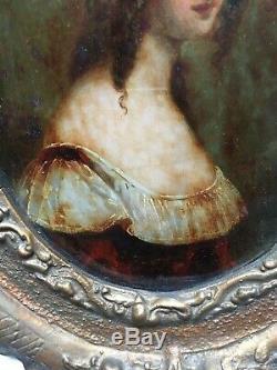 Fixé sous verre, tableau ancien, peinture, cadre ancien, verre bombé