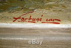Fortuné CAR (XX) BORD DE COTE MARINE CERISIER PROVENCE PAYSAGE TABLEAU ANCIEN