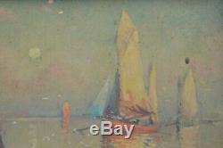 G Maroniez tableau ancien huile retour de pêche port Breton fin XIXe début XXe