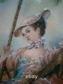 GRAND TABLEAU DECO EMAUX DE LIMOGES C. DAN ANCIEN PEINTURE CUIVRE FEMME MODE 18°s
