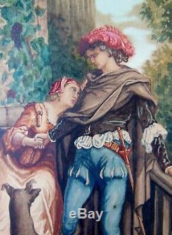 GUSTAVE DORE 1832-1883 GOUACHE XIXeme ancien tableau peinture les deux pigeons