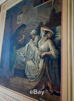 GUSTAVE DORE 1832-1883 GOUACHE XIXeme ancien tableau peinture servantes vieille