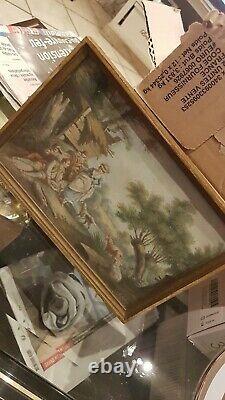 Gouache- Peinture D Apres Huet- Ancien tableau