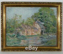 Grand Tableau Paysage Au Moulin Huile Sur Carton Vers 1900 peinture ancienne