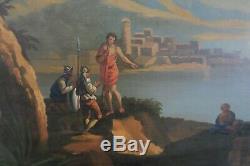 Grand Tableau Scene Italienne Empire XIX Peinture Ancienne