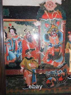 Grand fixé-sous-verre ancien. Chine. XIX°. Peinture, tableau