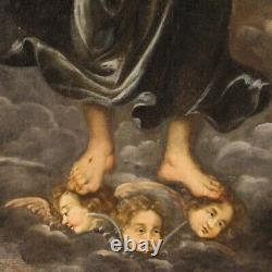 Grand tableau ancien Christ Salvator Mundi peinture huile toile 18ème siècle