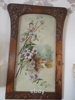 Grand tableau ancien art nouveau signé peinture huile sur carton nature morte