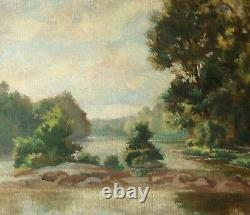 Grand tableau ancien paysage rivière XX è peinture sur toile