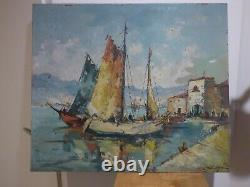 Grand tableau ancien signature a identifier peinture marine bateau