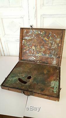 Grande BOITE À PEINTURE pour Peintre Tableaux ANCIEN BOIS NOYER