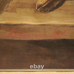 Grande nature morte tableau huile sur toile peinture gibier fruits style ancien