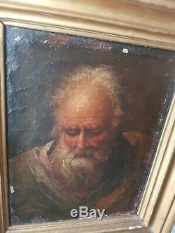 HST peinture Ancien Tableau Portrait Vieillard Italie école florentine 18ème old