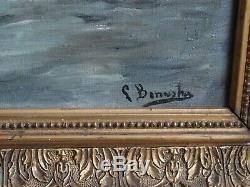 Huile Sur Toile Peinture Ancienne Tableau Naufrage Bateaux Marine A Restaurer Et