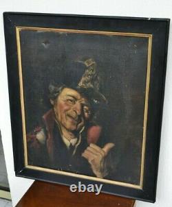 Huile portrait TABLEAU ANCIEN HST ECOLE PEINTURE xix EME