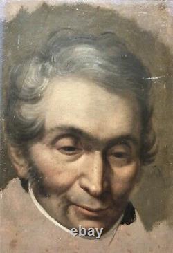 Huile sur Panneau Portrait dHomme Peinture Tableau Ancien XIXème Old Master