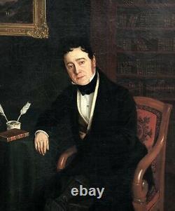 Huile sur Toile Portrait dHomme Dandy Peinture Signée Tableau Ancien XIXème