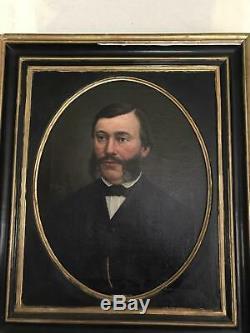 Huile sur toile 1884 peinture tableau ancien portrait homme XIXème signé encadré