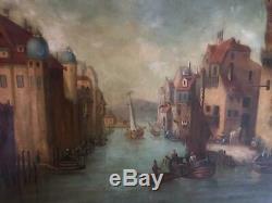 Huile sur toile paysage animé peinture marine bateau tableau ancien signé