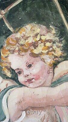 Huile toile Angelot Putti peinture tableau ancien romantique avec certificat