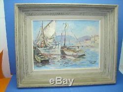 Joli ancien tableau, bord de mer, signé FASSLER