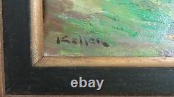 Keller Ancien tableau peinture HST paysage Procession Oil painting signed