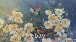 LOT de 2 très anciens année 1894 tableaux peinture huile signés Marthe Lasne