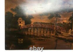 Laque vietnamienne ancienne, Paysage animé au pont, Peinture, Tableau, Asie, XXe