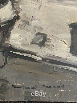 Léopold PASCAL tableau ancien peinture paysage neige Paris peintre de la marine