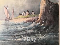 MAGNIFIQUE peinture ancienne MARINE animée SIGNATURE A DECHIFFRER tableau ancien
