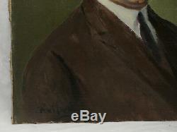 Max Wulfart (1876-1955) Portrait d'Homme Huile sur toile tableau peinture ancien