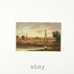Miniature Tableau Peinture Ancienne Huile Paysage, Personnage, Lac, Arbre